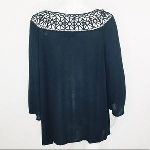 Lane Bryant Tops - LANE BRYANT BLACK KIMONO SLEEVE LACE NECK TOP
